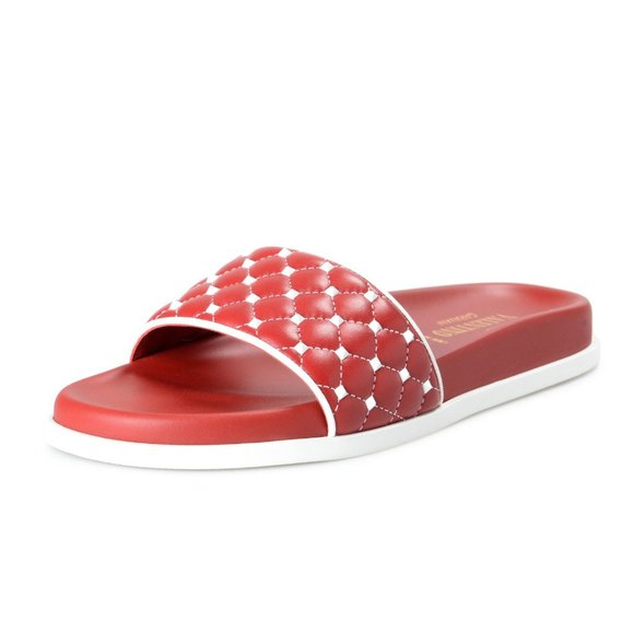 Valentino Shoes - Valentino Women's Red Leather Rockstud Flip Flops